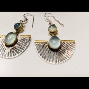 MOONSTONE Earring 925 Silver Gold Blue Dangle Fan